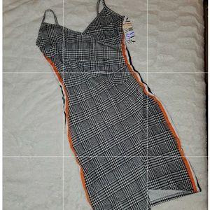 Plaid A Line Fold Over Dress, Orange Side Lines